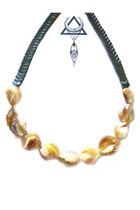 Hematite and shells necklace