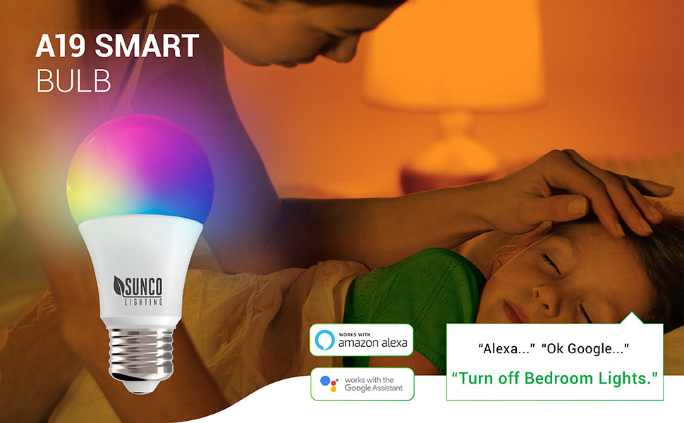 WiFi LED Smart Bulb, A19, 6W, Color Changing (RGB & CCT), Dimmable, 480 LM, Compatible with Amazon Alexa & Google Assistant - No Hub Required