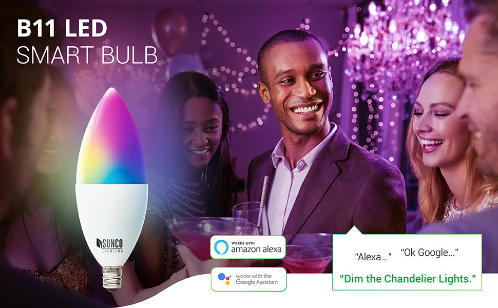 WiFi LED Smart Bulb, Dimmable, Compatible with Amazon Alexa & Google Assistant - No Hub Required