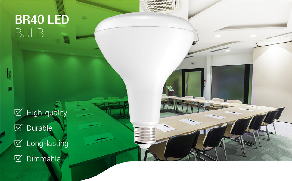 The dimmable Sunco BR40 LED Bulb is a long-lasting bulb with a 25,000 lifetime hours. The durable LED light bulb offers high-quality light with a wide flood beam of 110 degrees. This image shows a classroom or workshop setting where Sunco BR40 LEDs are used in ceiling recessed cans for downlights to light the space for task lighting and also provide artistic wall wash lighting. Indoor Flood Light for Cans - UL listed and Energy Star certified.