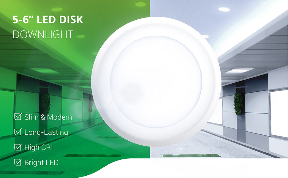 "5 Inch / 6 Inch Flush Mount Disk LED Downlight, Dimmable, Hardwire 4/6"" Junction Box, Recessed Retrofit Ceiling Fixture"