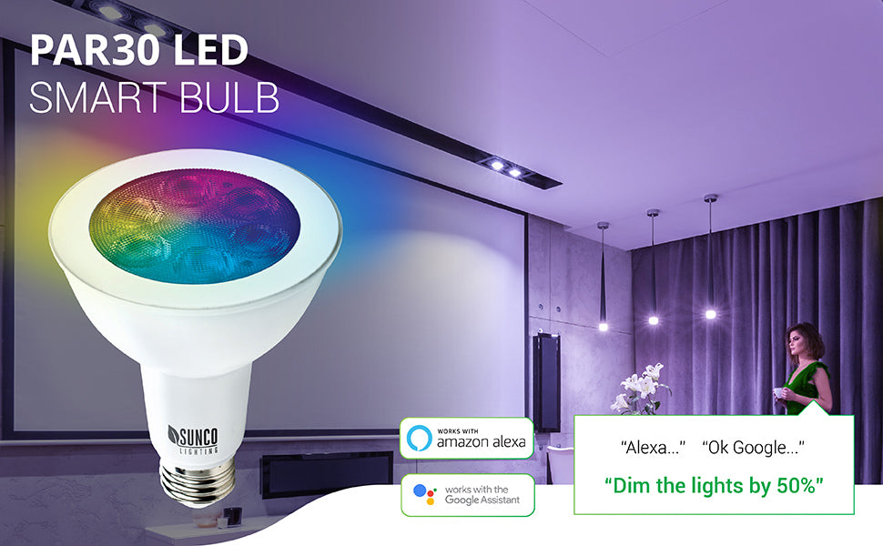 WiFi LED Smart Bulb, PAR30, 11W, Color Changing (RGB & CCT), Dimmable, Compatible with Amazon Alexa & Google Assistant - No Hub Required