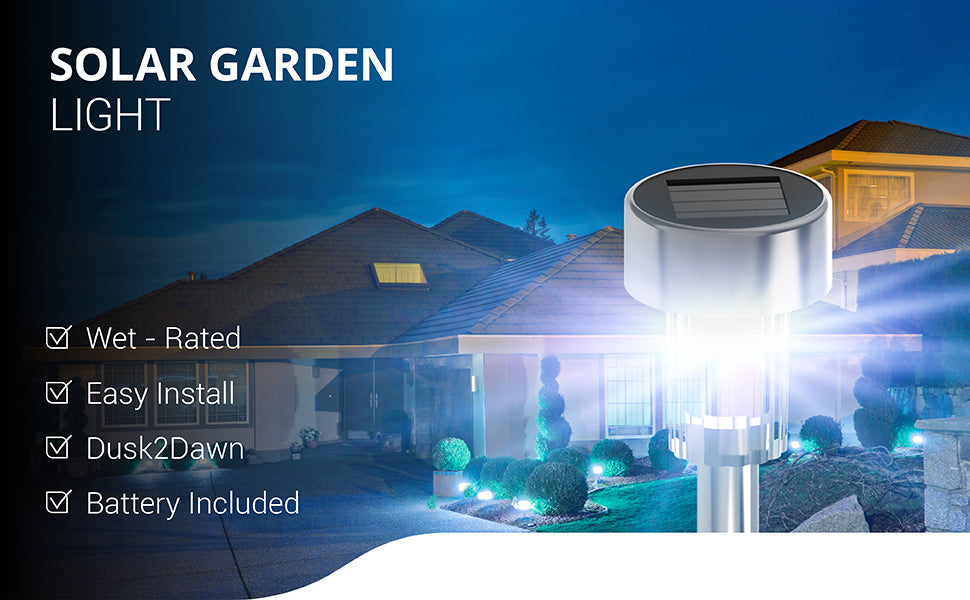 Sunco Solar LED Garden Lights are easy to install, wet rated for outdoor use, and include a rechargeable battery. These sun-powered LEDs gather in sunlight during the day and then light up your garden, yard, flower bed, planter or walkway with bright light (6000K color temperature). These lights stand up on durable, steel pipes to provide illumination for your landscaping and safer walkways with automated light. The Dusk to Dawn sensor automatically turns on the LED when the sun sets. A 6-8 hour charge of direct sunlight on the solar panel provides up to 10 hours of bright light at night. This light is Weatherproof and Water-Resistant for outdoor use