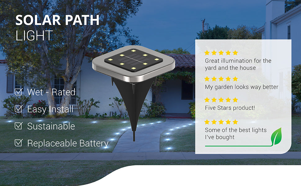 Sunco square Solar Path Lights are wet rated with IP65 rating for outdoor use. They offer easy install, are sustainable since they are sun-powered, and include a solar panel plus a replaceable battery that charges daily with sunlight. Image shows a home with path lights leading to the house. Includes 5 star customer reviews: Great illumination for the yard and the house. My garden looks way better. Five stars product! Some of the best lights I've bought.