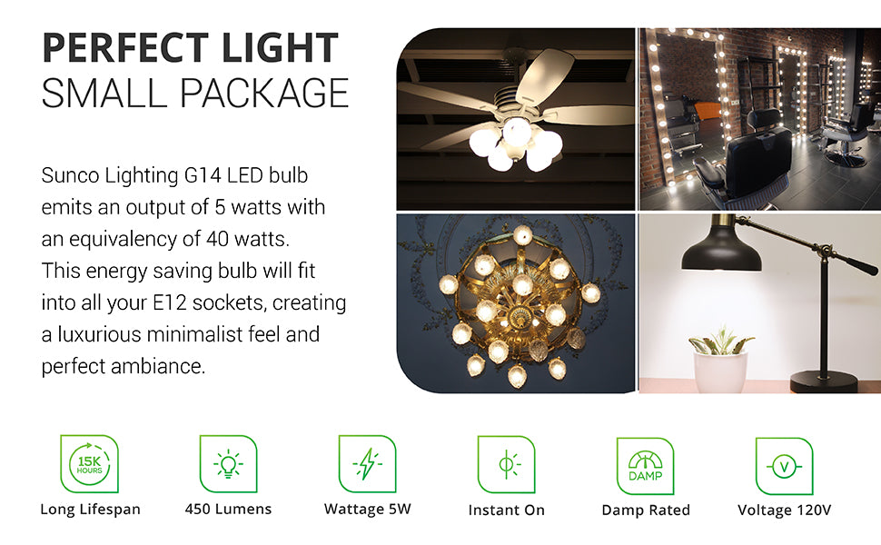G14 LED Globe is a 5W bulb with a 40W equivalency. Perfect light. Small package. The decorative and damp rated Sunco Lighting G14 LED Bulb consumes 5 watts with an equivalency of 40 watts. This energy saving bulb fits in E12 sockets, sometimes called a candelabra base, to create a luxurious and minimalist feel to your space. Image shows this compact, 450 lumen, 5W bulb with a long lifespan in ceiling fans, around mirrors at a hair salon and barber shop, in a ceiling chandelier, and a small desk lamp.