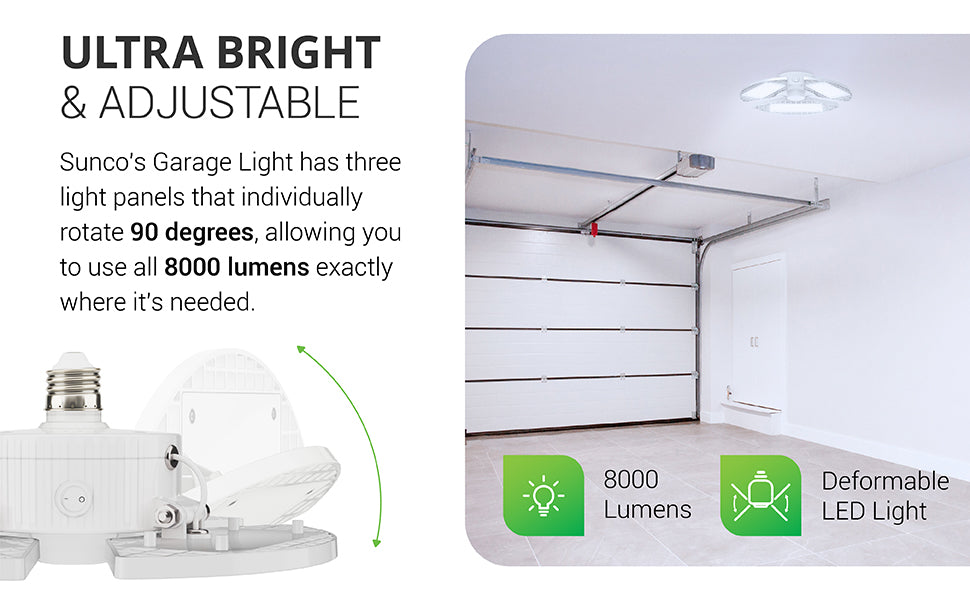 This ultra bright 8000lm and adjustable LED light has three light panels that individually rotate 90-degrees. This allows you to use all 8000 lumens of bright light exactly where it is needed. The deformable LED light has an E26 base so you can screw it into ceiling fixtures in a garage, basement, laundry room, walk-in pantry, or other dim space where you need bright lighting. This 80W LED is a 400W equivalent.