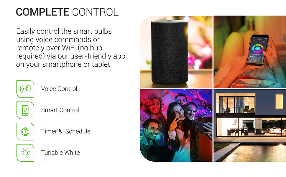 Easily control Sunco PAR20 LED Smart Bulb using voice commands or remotely over WiFi – no hub required – via our user-friendly app on your smartphone or tablet. Images feature: smart control, voice control, timer and schedule options, color choice, and tunable white.