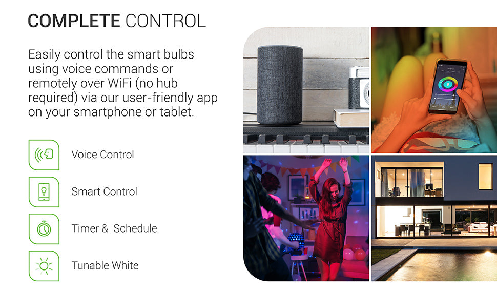 Easily control Sunco PAR38 LED Smart Bulb using voice commands or remotely over WiFi – no hub required – via our user-friendly app on your smartphone or tablet. Images feature: smart control, voice control, timer and schedule options, color, and tunable white.