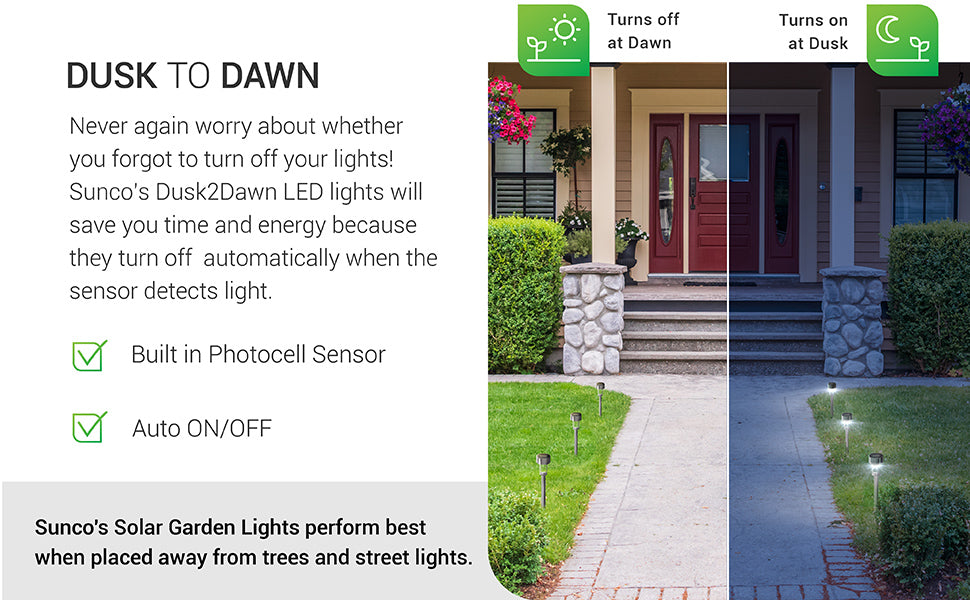Featuring an above ground stake for even light along walkways or in your landscaping, this LED Solar Garden Light from Sunco Lighting features Dusk to Dawn Technology. Battery included. The LED performs best when placed away from trees, where the solar panel might be blocked and unable to recharge, and street lights. These lights automatically turn on/off based on available light levels. They turn on at dusk. Simply charge the solar panel to recharge the battery and light up the night. Ideal Solar Powered LED Landscape Lighting for Gardens and Flower Beds, Weatherproof and Water-Resistant