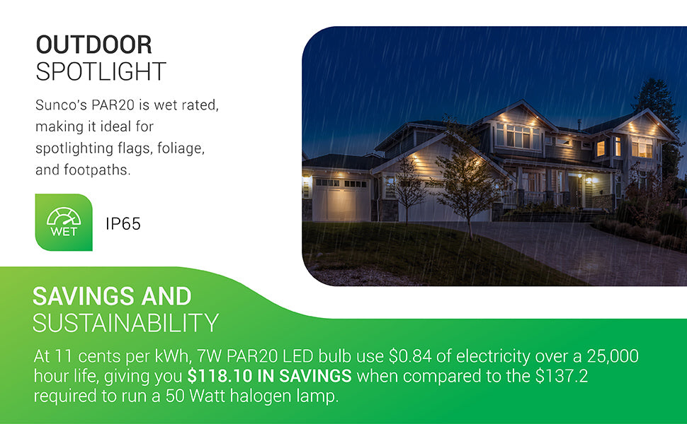 PAR20 LED Bulb, 7W=50W, Dimmable, E26 Base, Indoor/Outdoor Spotlight, Waterproof - UL & Energy Star