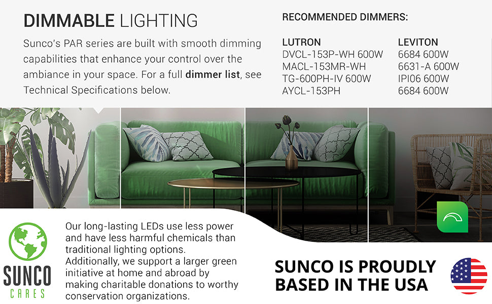 sunco lighting led light bulb convenient PAR20 led bulb smooth dimming for 4 inch recessed cans and light fixtures