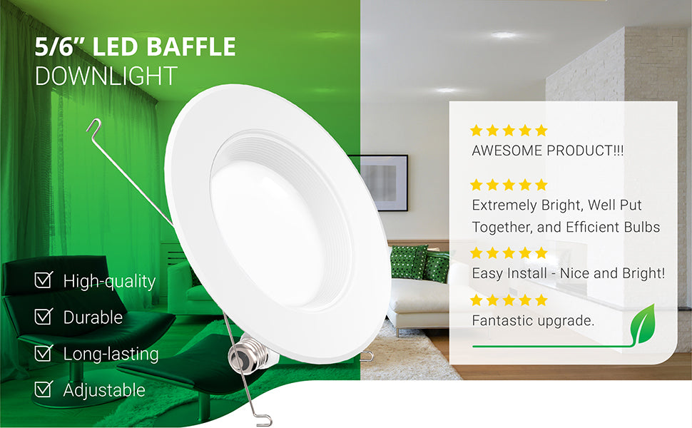 baffle down light downlight retrofit trim led recessed lighting