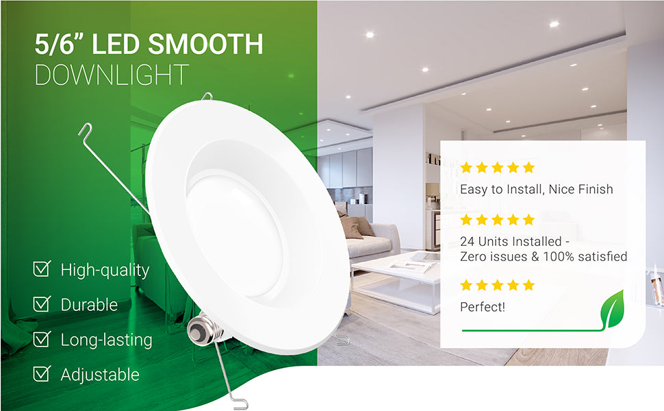56 INCH SMOOTH RETROFIT DOWN LIGHT DOWNLIGHT LIGHTING LED RECESSED TRIM