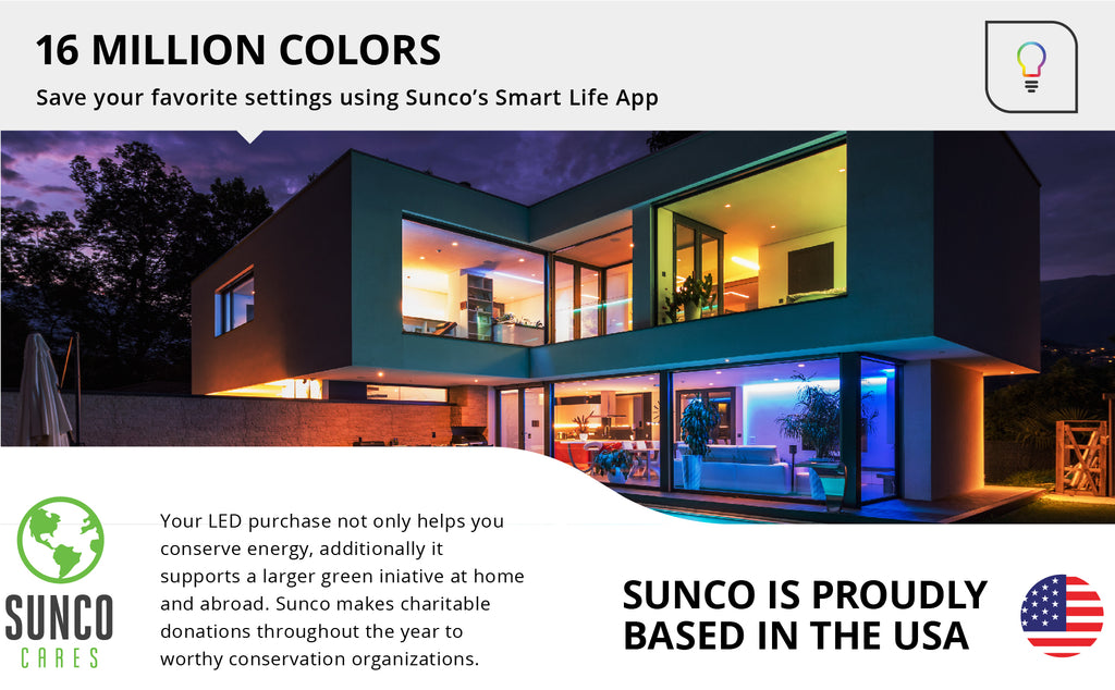 Sunco Lighting's convenient B11 LED Smart Bulb enhances your home. Smooth Dimming, change color temperatures or choose a hue from the rainbow using voice control. No Hub required! Use the app to set schedules, create scenes, or use music sync. Alexa and Google Assistant compatible. Control your home lighting remotely. ENERGY EFFICIENT - SUSTAINABLE - ECO-FRIENDLY | Bulk Buyer Options Available!