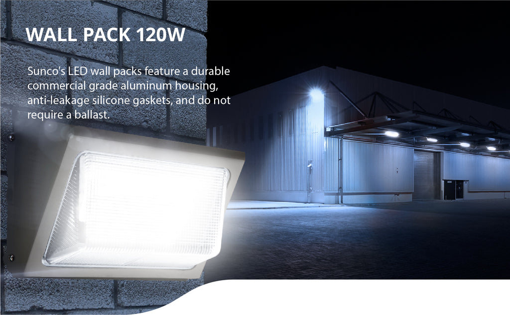 The wet rated Sunco LED Wall Pack 120W feature a durable commercial grade aluminum housing, anti-leakage silicon gaskets, and do not require a ballast. Image features wall pack on warehouse exterior lighting.
