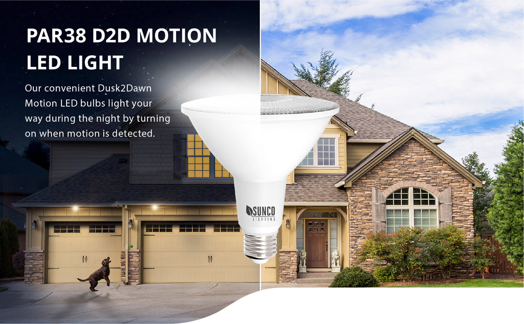 This Sunco PAR38 LED Bulb with Dusk to Dawn is also motion activated. That means when the sun sets, this LED light will automatically turn on the light when motion is detected by the built in motion sensor. The sensor detects motion within 15ft. Our PAR38 D2D radar bulbs act as a deterrent against crime as they stay on for 25 seconds after motion has stopped. The Dusk to Dawn sensor detects light levels, which means the light will only turn on when motion is detected and it is night.