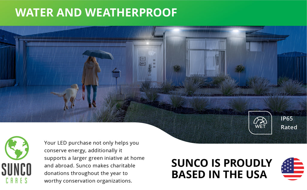 Water and weatherproof. This IP65 rated PAR38 LED Bulb with Dusk to Dawn technology is waterproof for exterior use. These spotlight PAR38 LEDs fit 6-inch recessed cans. Sunco supports a larger green initiative at home and abroad by making charitable donations to worthy conservation organizations. Sunco is proudly based in the USA. We are American owned and operated.