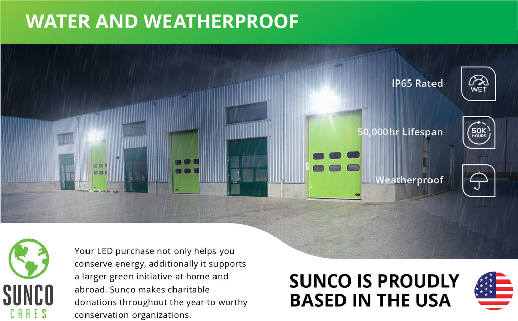 Sunco's LED Wall Pack 80W is wet rated, making it ideal for outdoor areas and wet environments. We also support a larger green initiative at home and abroad by making charitable donations to worthy conservation organizations. Sunco is proudly based in the USA. We are American owned and operated.