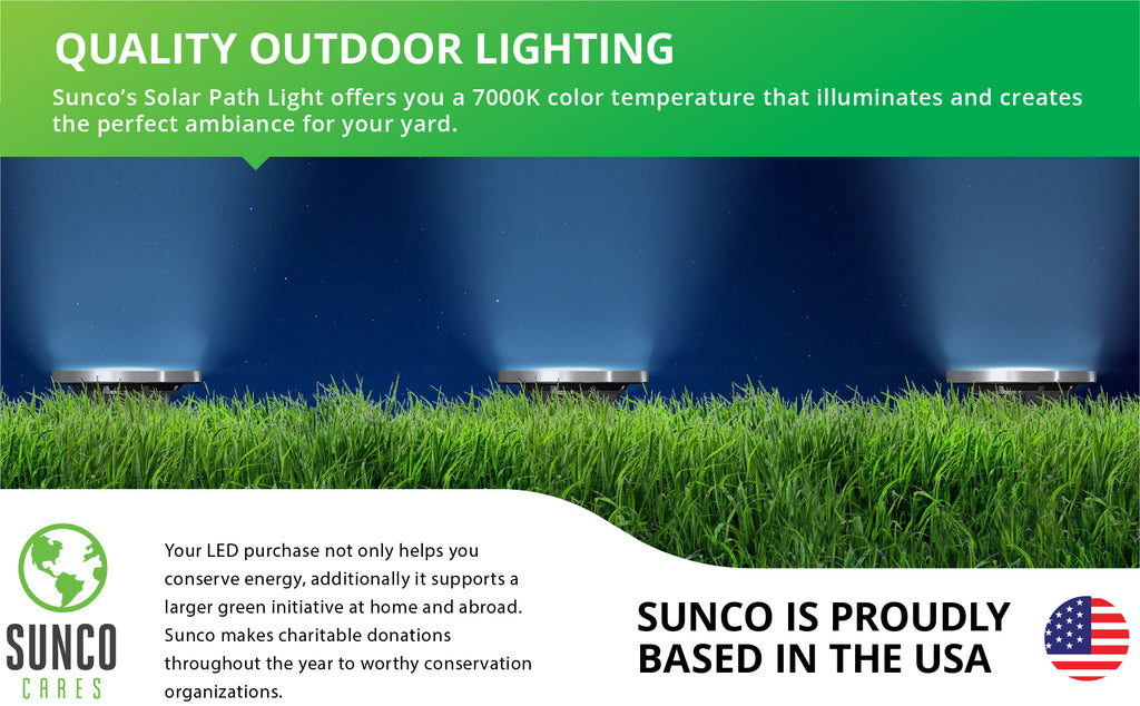 Sunco's Solar Path Lights automatically turn on at night, lighting your way through the dark with bright, beautiful light. 7000k color temp, wet-rated backyard,  ENERGY EFFICIENT - SUSTAINABLE - ECO-FRIENDLY