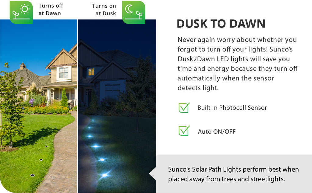 Never again worry about whether you forgot to turn off your lights. Sunco's Dusk to Dawn LED lights will save you time and energy because they turn off automatically when the sensor detects light and turn on at dusk, whether you are home or not. Includes auto on and off along with a built in photocell sensor to detect light levels. Sunco's solar path lights perform best when placed away from trees and streetlights. They need direct sun to power the internal battery via the solar panel.