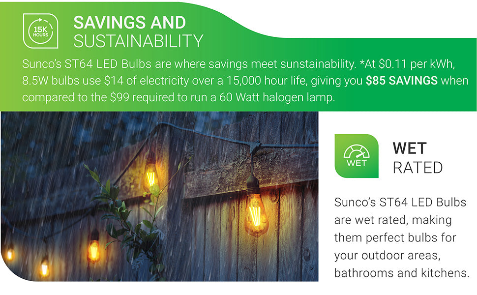 Sunco's ST64 LED Bulbs are wet rated, making them perfect bulbs for your outdoor areas, bathrooms, and kitchens. Includes Savings and Sustainability numbers. At 11 cents per kWh, 8.5W ST64 LED Bulb uses 14 dollars of electricity over a 15,000 hour life, giving you 85 dollars in savings when compared to the 99 dollars required to run an equivalent 60 watt halogen lamp.