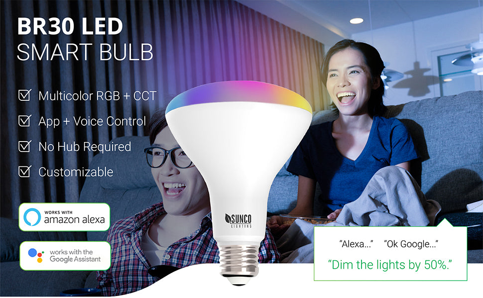 sunco lighting led light bulb BR30 smart bulb provides voice control with an app and your amazon alexa or google assistant to provide control over color dimming and more light settings