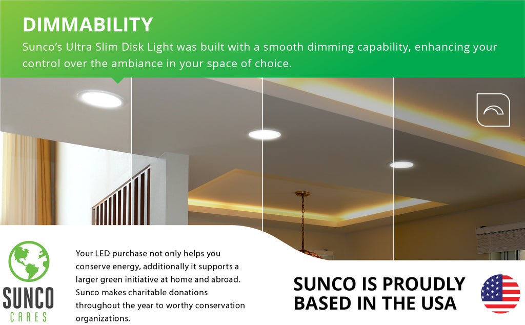 "Upgraded 5/6"" Disk Light   high efficiency lumens slim color 90 CRI easy installation Install 5"" 6"" inch cans junction boxes jbox ENERGY EFFICIENT SUSTAINABLE ECO-FRIENDLY"