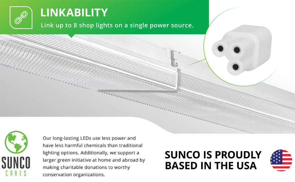 "Sunco Lighting 4 Pack Wraparound 5"" Wide LED Shop Light, 4 FT, Linkable, 40W=300W, 4000 LM, 5000K Daylight, Integrated LED, Prismatic Lens, Direct Wire, Flush Mount Fixture, Garage- ETL, Energy Star"