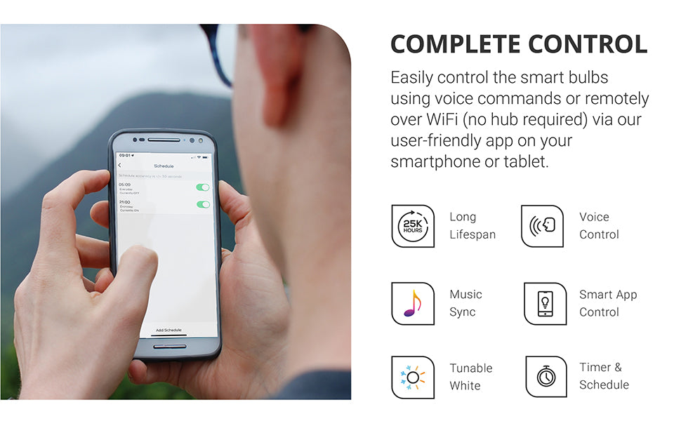 sunco lighting led light bulb convenient BR30 smart bulb for downlights and cans pairs via wifi with Alexa or Google assistant and smart phone or tablet with the Smart Life App to provide voice control music sync tunable white selection and timer to turn bulb on off or schedule to set a customized scene