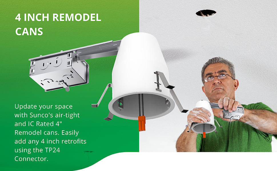 4 Inch Remodel Housing, Air Tight IC Rated Steel Can, 120-277V, TP24 Connector Included for Easy Install - UL & Title 24 Compliant
