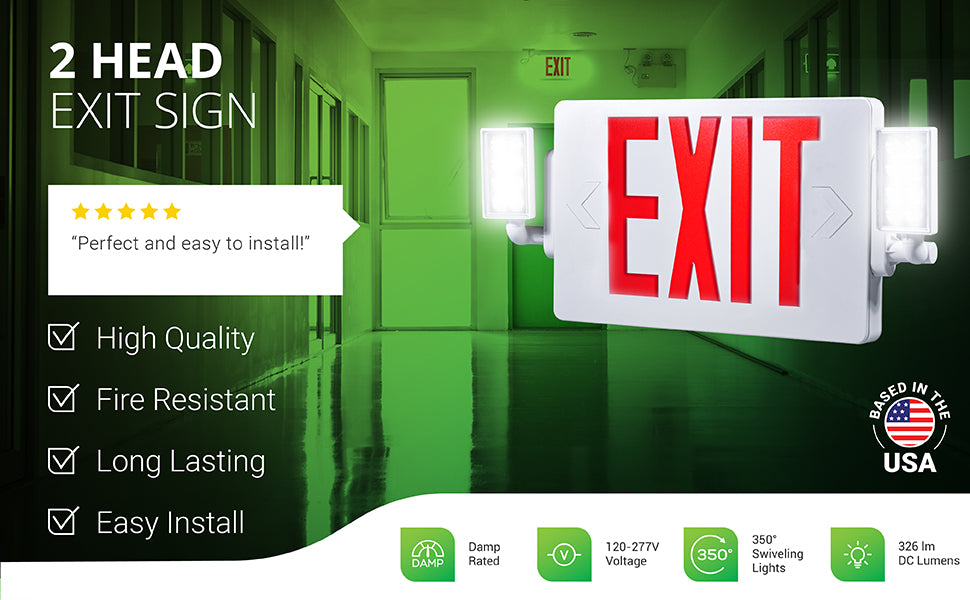 This 2 Head LED Exit Sign Red with side floodlights is a single or double sided LED emergency EXIT Sign. Includes a backup battery to turn on the safety lighting during a power failure. The 2 LED heads can be swiveled left/right to position the light beam where you need it. Fire resistant. Damp rated for indoor use. Commercial grade product runs on 120/277V. Long lasting integrated LED. They feature adjustable flood lights on either side of the US Standard Red Letter Emergency Exit Light fixture.