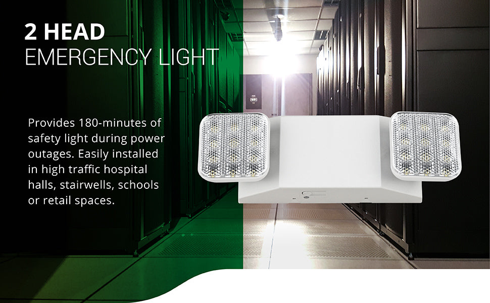 Sunco Lighting 2 Head Emergency Light provides 180-minutes of safety light during power outages. Easily install this LED safety light in high traffic hospital halls, stairwells, schools or retail spaces. Image shows a server room with bright light to light the way to safety during an emergency. The two adjustable LED heads can be repositioned to place the light right where you need it. Install on a wall with our simple installation manual.