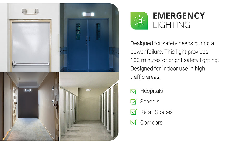 Emergency Lighting. Our Sunco 2 Head LED Emergency light is designed for safety. With a 3.6V 6000mAh Nickel Cadmium battery, it provides 180-minutes of bright safety lighting. Adjust the swiveling flood lights to reposition the light. Install this damp rated LED quickly to your wall via a junction box or conduit to suit your situation. Designed for indoor use in high traffic areas. Shows light in a bathroom and interior hallways with no windows to provide necessary light in a power outage.
