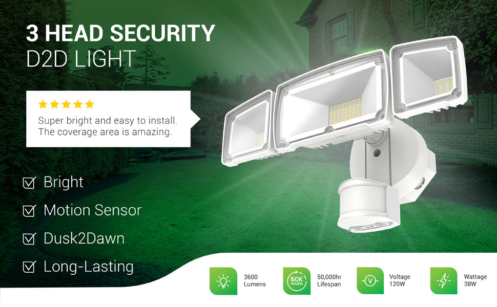 The Sunco Lighting 3 Head Security Light with Dusk to Dawn delivers bright, 3600 lumens light and is long-lasting with its 50,000 lifetime hours. The security light's motion sensor detects motion and, when there is also no light detected, automatically turns on to illuminate the night. Image shows the side of a house with the Sunco 3 Head Security Light installed to light up a grassy lawn in a side or backyard area.