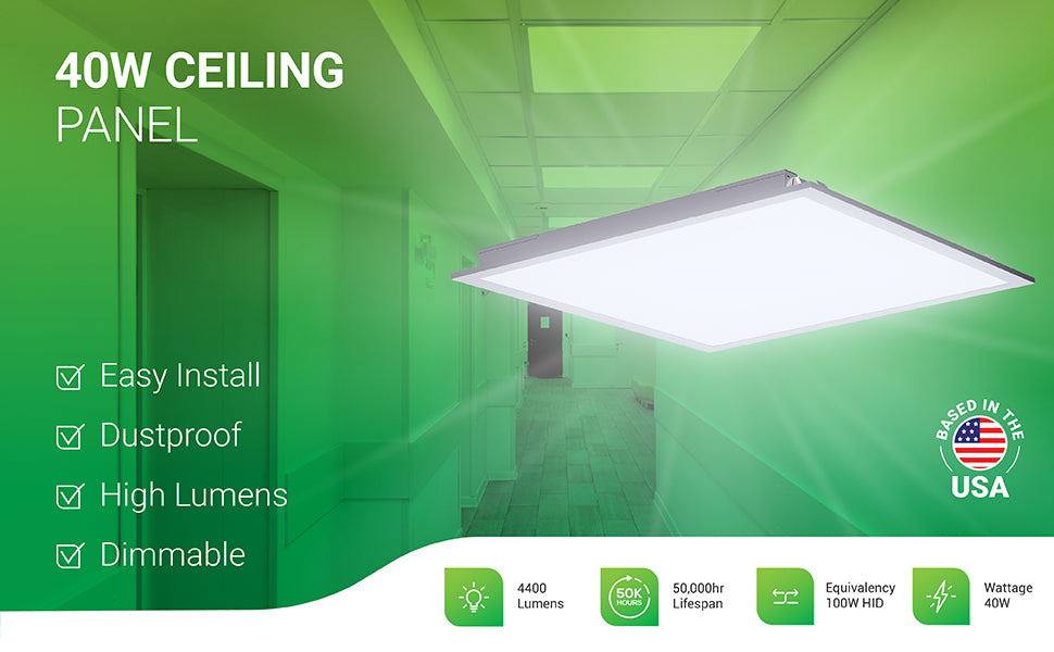 This 40W LED Ceiling Panel 2x2 is easy to install, dustproof for easy cleaning of lens cover (no need to open it and dust inside), dimmable and produces a high lumen count of 4400lm. With its 50,000 hour lifespan, this light fixture will reduce maintenance time. A 40W light fixture, this LED is a 100W HID equivalent. Sunco is based in the United States and is American owned and operated. Image shows this square ceiling panel in a hospital hallway.