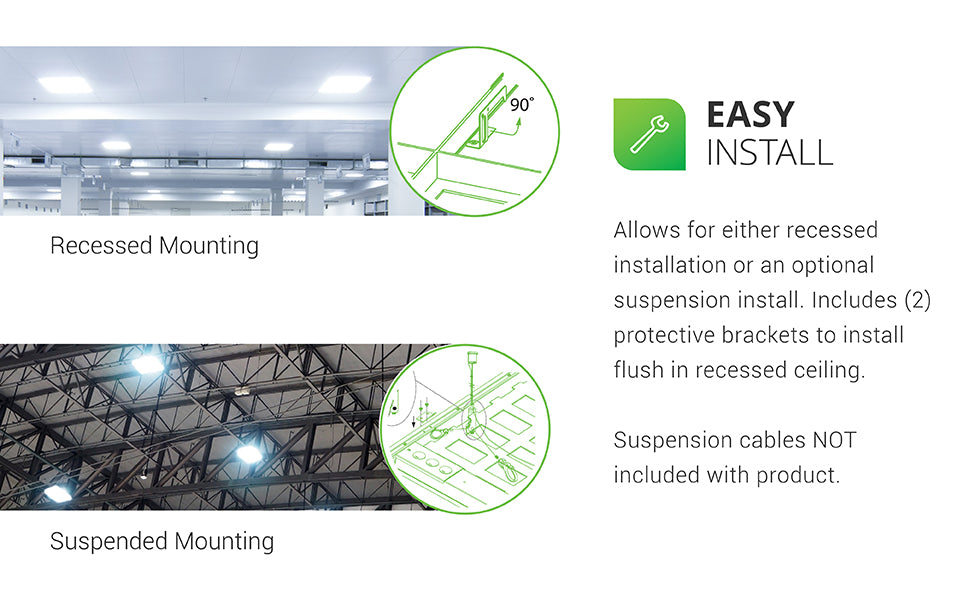 Easy Install. This ceiling panel can be recessed or suspended. Includes hanging brackets. Suspension cables are not included with this product. Sunco Ceiling Panels include four protective brackets to install fixture flush in recessed ceilings. Image shows the recessed lights mounted in a large classroom and suspended in a large warehouse. Details of protective brackets and cable hanging method are featured. Refer to simple install manual for instructions.