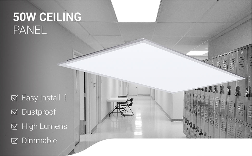 The Sunco 50W Ceiling Panel is easy to install and offers both a high lumen count and dimmability. You can dim it via 0-10V dimming. The frame of this recessed or suspended mount ceiling panel light fixture is dustproof to reduce maintenance needed. Since this is an integrated LED with a long lifetime, you won't need to relamp it during its lifetime. Shows a picture of the product and a school hallway with lockers and the ceiling panel installed as recessed lighting.