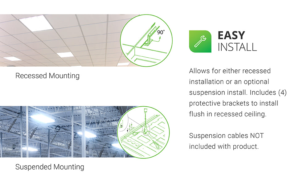 Easy Install. The Sunco 50W LED Ceiling Panel allows for either recessed installation or an optional suspension install. Includes four protective brackets to install flush in recessed ceiling. Shows Recessed Mount image with the Ceiling Panel installed in a recessed ceiling with a callout of the included protective brackets. Shows Suspended Mount image with Ceiling Panel installed in a warehouse, open frame ceiling with suspension cables – not included – and a callout showing how the suspension would be installed. See installation manual for full details.