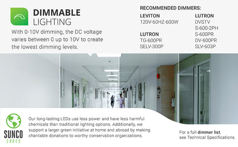 Provide dimmable lighting to your office or commercial space with the Sunco LED Ceiling Panel. A 50W smooth dimming ceiling fixture, this 2x4 panel uses less power than traditional lighting. With 0-10V dimming, the DC voltage varies between 0 up to 10V to create the lowest possible dimming levels you might need and to scale the output of your LED light. Includes a select list of recommended dimmers. Sunco is an American owned and operated business based right here in the USA.