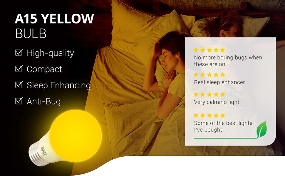 A15 LED Bulb,Yellow Bug Light, Dimmable, Bug Repellent/Bug Free, Ideal for Outdoor Patio, Backyard