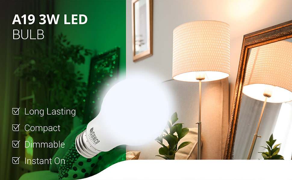 Our long lasting and compact A19 3W LED Bulb is dimmable from 100% to 10%. It provides bright, instant on lighting and fits light fixtures with an E26 socket. This includes table lamps like the one featured in this photo in a living room. This 3W bulb is a 25W equivalent. Ideal for indoor lighting applications, this bulb is UL Listed and backed by Energy Star, FCC, and RoHS certificates.