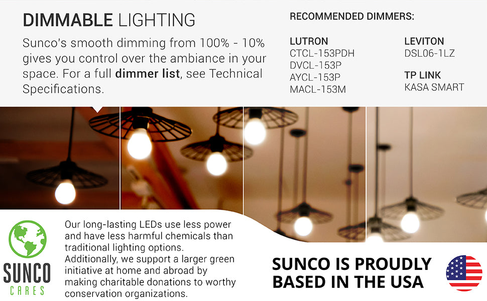 Long Lasting. Sunco's dimmable A19 3W LED bulb features advanced LED technology and cuts down on relamping costs with a lifetime of 25,000 hours. Product applications include: enclosed porch light fixtures, desk lamps, table lamps, overhead lighting. The savings and sustainability of this bulb: at 11 cents per kWh, 3W A19 bulbs use $8.21 of electricity over a 25,000 hour life, giving you $156.85 in savings when compared to the $165.06 required to run an equivalent 50 watt halogen lamp.