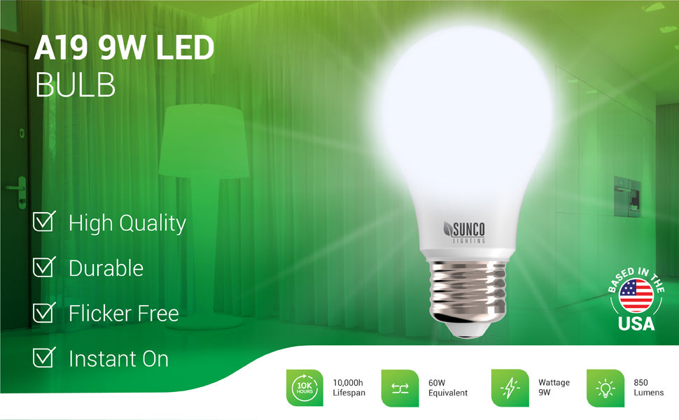 This durable A19 LED Bulb consumes only 9 watts and offers flicker free, instant on light. Our high quality A19 features 850 lumens of bright light. 9W=60W equivalent. With its long life (10,000 hour lifespan) and E26 base, you'll want to use this LED replacement to lower power bills on all your LED compatible household fixtures. Image shows a close up of this A19 light bulb. Note that this bulb is not dimmable.