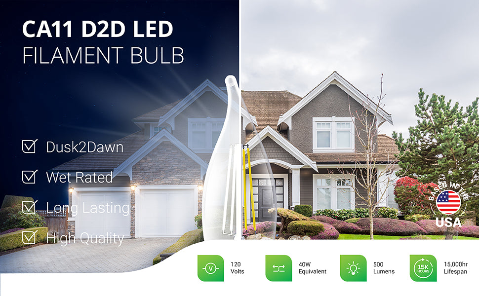 Sunco 120V CA11 LED Candelabra Filament Bulb with Dusk to Dawn sensor is a Dusk2Dawn light bulb designed for exterior lighting. The E12 base light bulb is wet rated and long lasting with 15,000 hour lifespan. This high quality and low wattage light bulb is a 40W equivalent and offers 500 lumens of light. Image shows a residential home with candelabra bulbs in wall sconces outside the home.