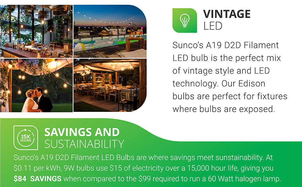 Sunco's A19 Dusk to Dawn Filament LED Bulbs mix vintage style and LED technology. Our Edison-like bulbs are ideal for fixtures where bulbs are exposed. Shown here in string lights and pendant lights in exterior lighting at home, bars, wedding events, restaurants, and pools. Savings and Sustainability. At 11 cents per kWh, 8.5W bulbs use 25 dollars of electricity over its 15,000 hour life, giving you 86 dollars savings when compared to the 99 dollars required to run a 60W halogen bulb.