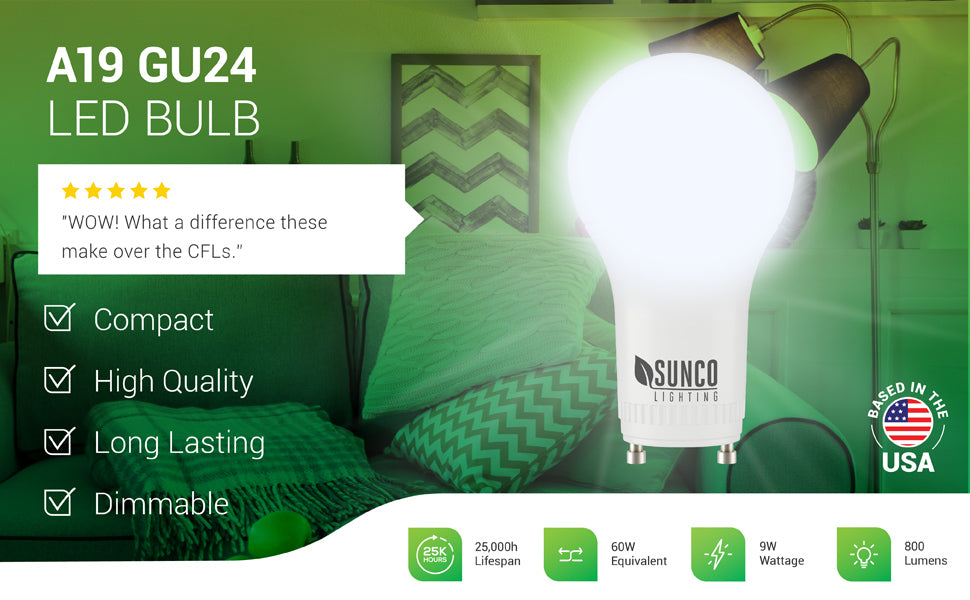 The compact Sunco A19 GU24 LED Bulb features a GU24 twist and lock base. It is Title 20 Compliant for purchase in California. This long lasting bulb is dimmable (10% to 100%) so you can modify the look of your lighting easily by adding a compatible dimmer. 25000 hour lifespan, 60W equivalent, 9W, 800 lumens bright light. Image features dual lamp, floor stand living room light fixture with A19 GU24 bulbs. 5 star customer review said WOW! What a difference these make over the CFLs.