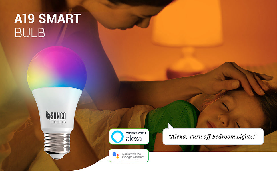 Our Sunco A19 LED Smart Bulb with an E26 base offers voice control when you pair it with your Amazon Alexa or Google Assistant. Control many settings via your smart device and an easy to use app, too. Image shows a woman with her daughter falling asleep. She is saying: Alexa, turn off bedroom lights. Use this light in any compatible household fixture, then quickly and easily customize the light in that room to suit your needs.