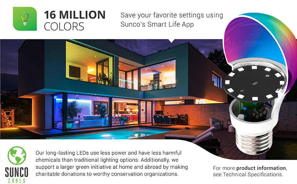 sunco lighting led light bulb WiFi LED Smart Bulb A19 6W Color Changing RGB and CCT Dimmable 480 lumens Compatible with Amazon Alexa and Google Assistant adjust color choice with app including multiple color options