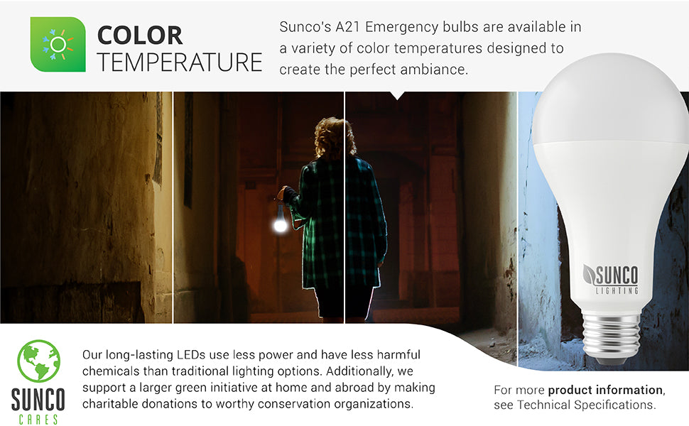 Sunco offers a wide variety of color temperatures so you can create the style you want with our long lasting LED bulbs. There are four color temperature choices: 2700K Soft White, 3000K Warm White, 4000K Cool White, 5000K Daylight. Image shows woman carrying an emergency light in a dark room. Sunco is American owned and operated.