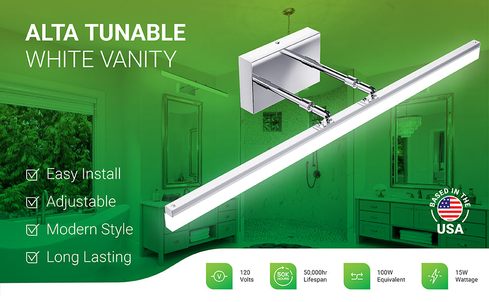 Alta Tunable White Vanity light fixture offers easy install with modern styling and a linear, modern bar light on dual telescoping arms. This adjustable vanity light can rotate the lamp head and reposition the light closer to the wall or further away. Long lasting fixture has 50,000 hour lifespan, consumes 120V, and is a 15W integrated LED that is a 100W equivalent. Replace old vanity light to reduce your power consumption. Sunco Lighting is based in the USA and is American owned and operated.